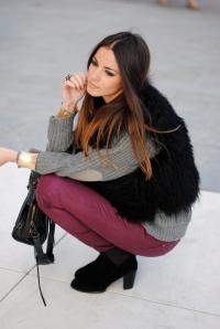 fur, burgundy pants, zara boots