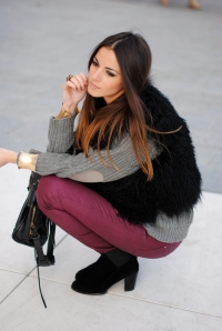 fur, burgundy pants, zara boots