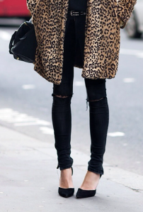 Black with leopard print