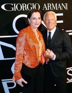 Kristen Scott Thomas and Giorgio Armani