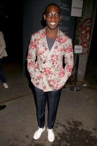 Tinie Tempah sporting florals at Casley-Hayford Show (photo by Rex)