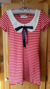 Red and White Striped with Peter Pan Collar