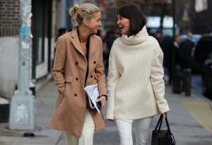 Winter White with camel coat
