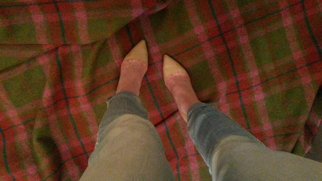 pink stillettos with blue jeans