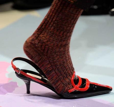 Prada kitten heel with sock