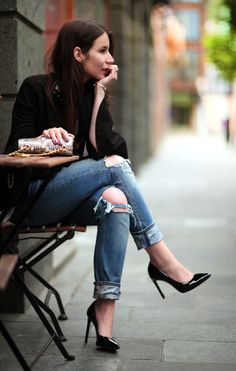 ripped jeans and pumps