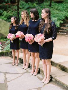 bridesmaid navy lace