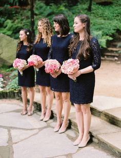 bridesmaid navy lace