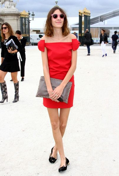 alexa-chung-red-dress-out-party-wedding-flats-loafers-off-the-shoulder