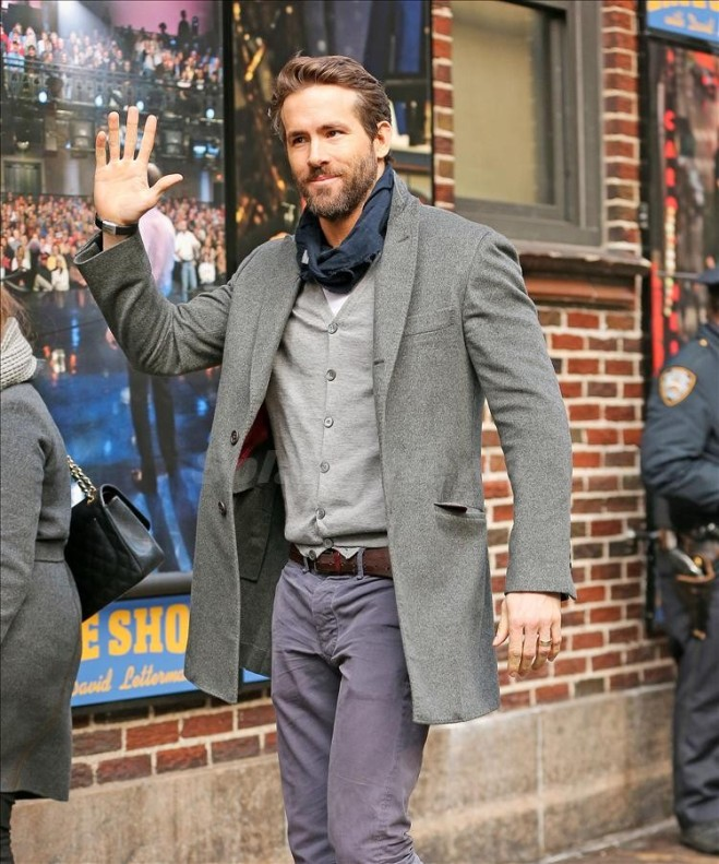 Ryan Reynolds waves while arriving at 'The Late Show with David Letterman' in New York City