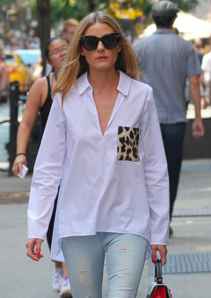Olivia Palermo Zara white shirt with leopard pocket