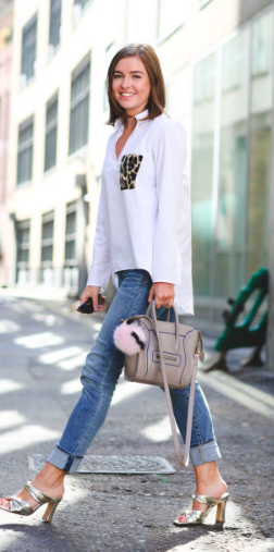 what Elle Wears Zara shirt leopard pocket