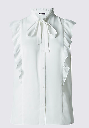 marks and spencer white ruffle blouse