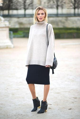 chunky jumper midi skirt