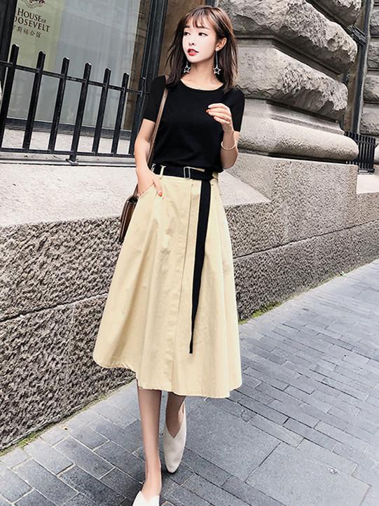 midi skirt tshirt